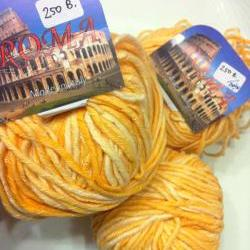 SALE - 3 balls x Roma Italy Yarn  50%Cotton 50% Acrylic  (YELLOW)
